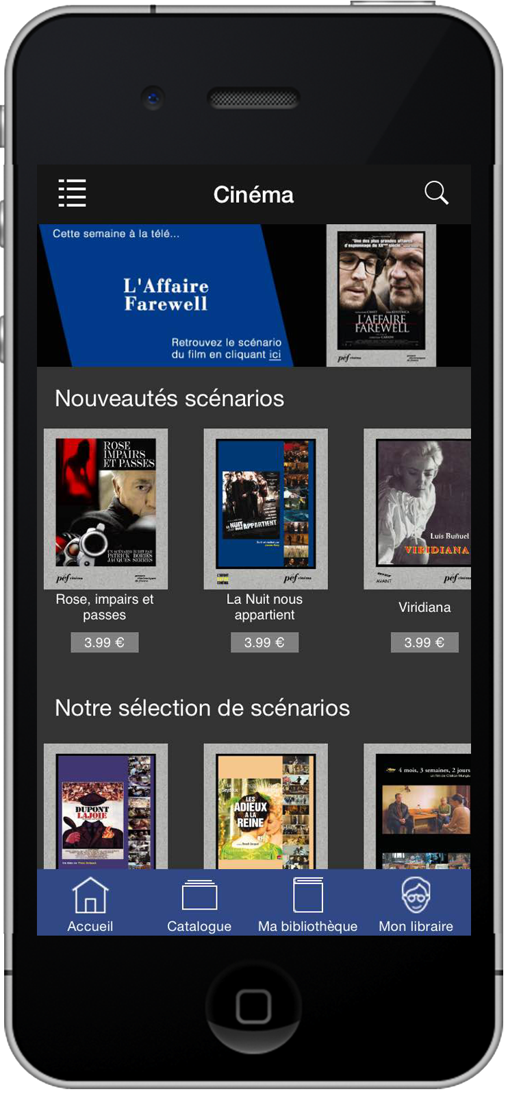 Capture d'écran de l'application PEF online sur iPhone